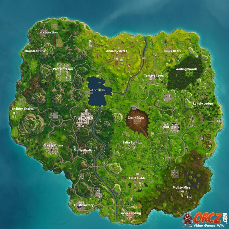 From Dusty Divot to Loot Lake to Salty Springs to Tomato Town to Retail Row to Tilted Towers to Anarchy Acres to Wailing Woods to Fatal Fields to Shifty Shafts to Pleasant Park to Lonely Lodge to Moisty Mire to Haunted Hills to Lucky Landing to Snobby Shores to Junk Junction